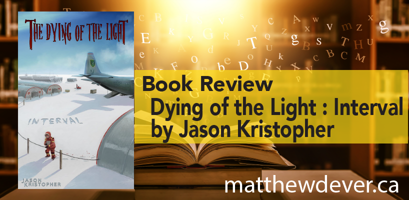 Backgroundof book in library with title Book Review - Dying of the Light Interval by Jason Kristopher