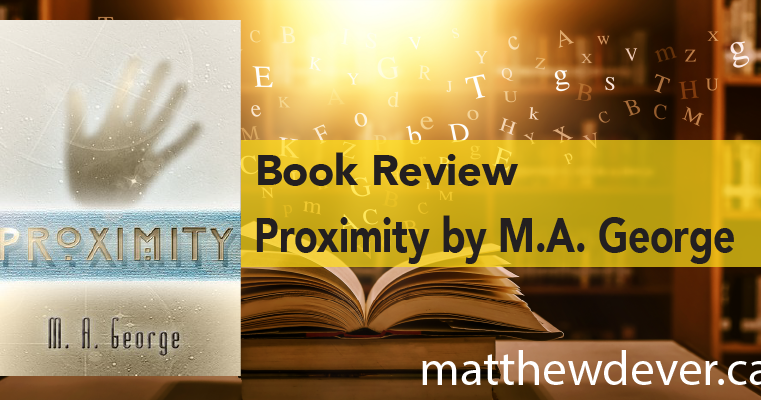 Background of book in library and title Book Review Proximity by M.A. George